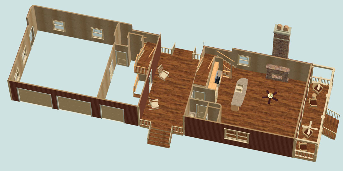 3D 1st Floor image of Featured House Plan: BHG - 2312