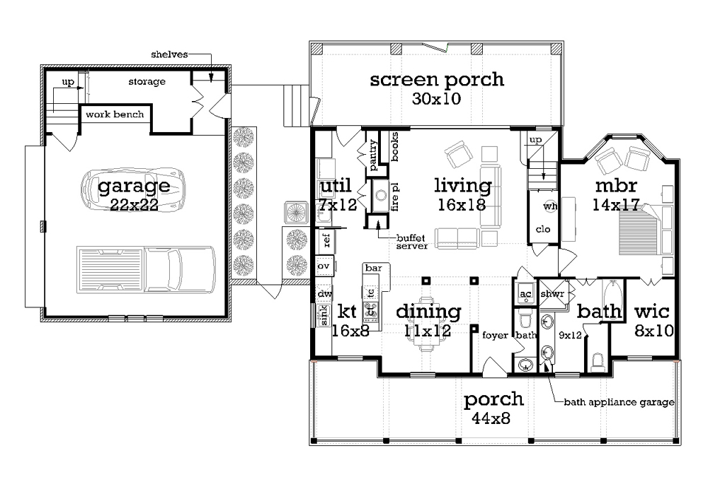 Main Level Floor Plan image of Featured House Plan: BHG - 1163