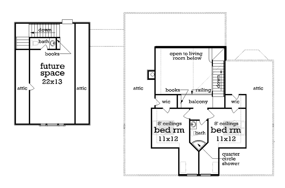 Upper level floor plan image of Featured House Plan: BHG - 1163