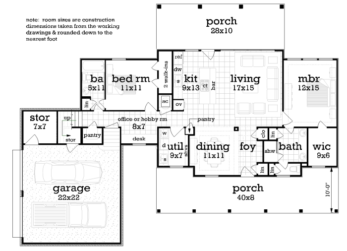 Main Level Floor Plan image of Featured House Plan: BHG - 2042