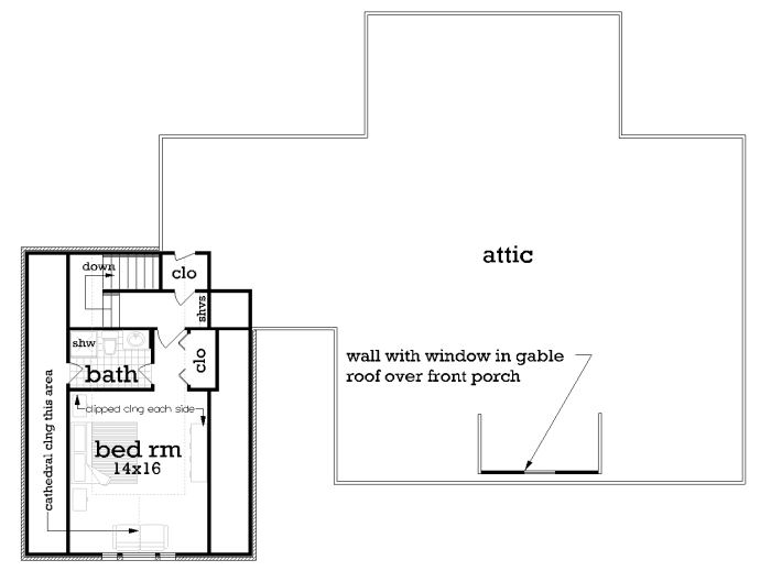 Upper level floor plan image of Featured House Plan: BHG - 2042