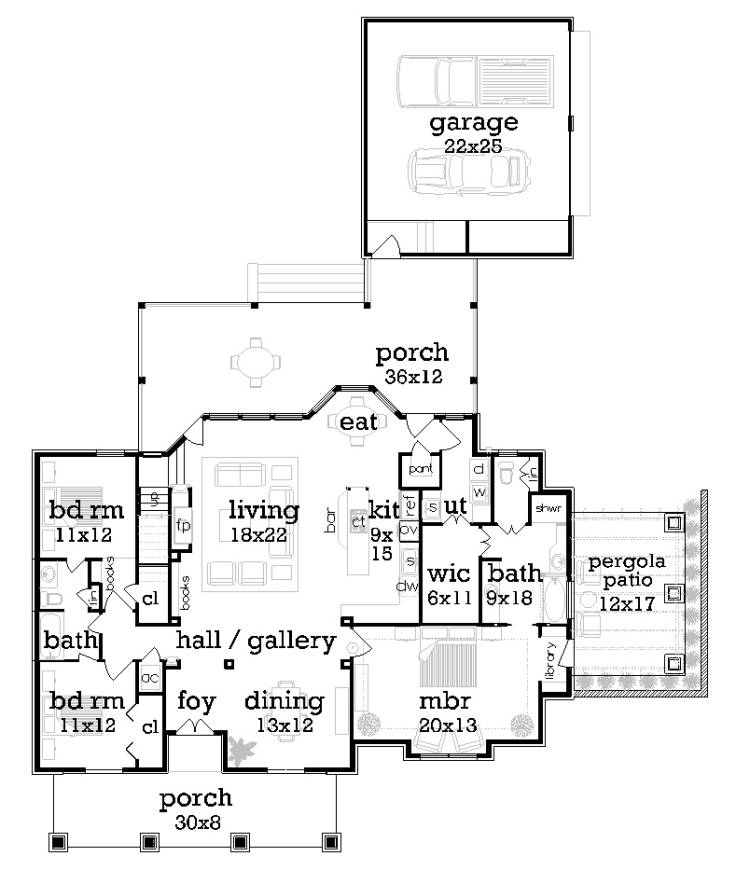 Main Level Floor Plan image of two-story craftsman house plan
