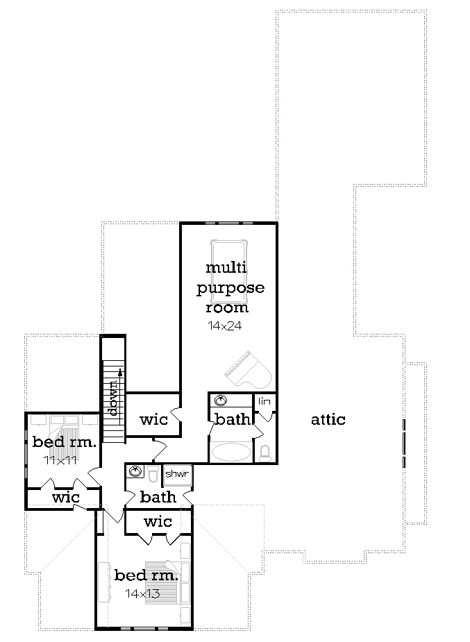 Upper level floor plan image of two-story craftsman house plan