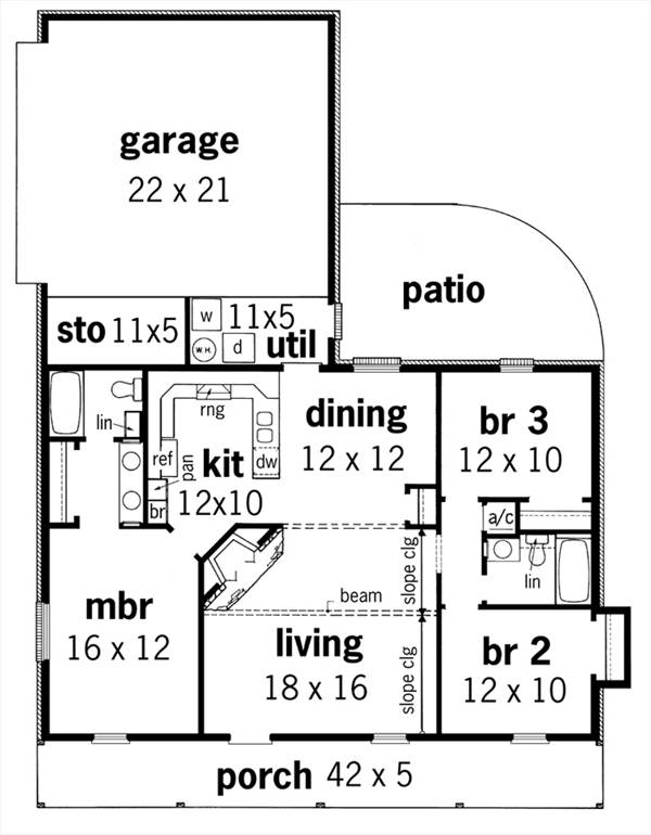 First Floor Plan image of Featured House Plan: BHG - 3549