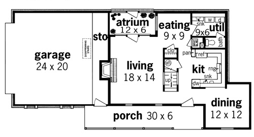 First Floor Plan image of Featured House Plan: BHG - 7320