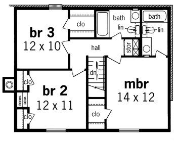 Second Floor Plan image of Featured House Plan: BHG - 7320