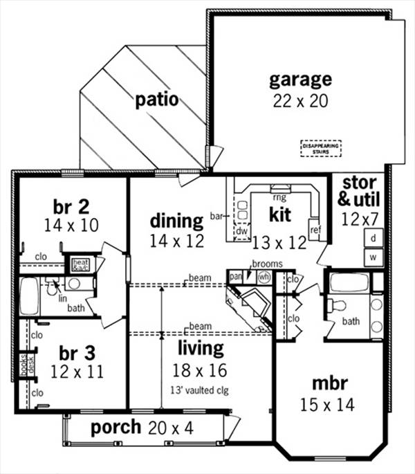 First Floor Plan image of Featured House Plan: BHG - 7322