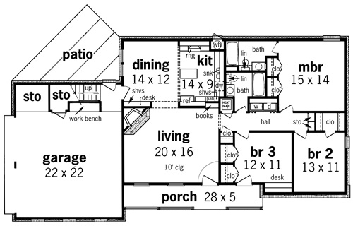 First Floor Plan image of Featured House Plan: BHG - 7323