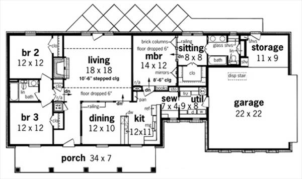 First Floor Plan image of Featured House Plan: BHG - 7338