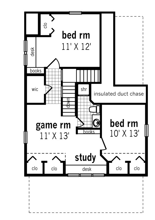 Upper level floor plan image of Featured House Plan: BHG - 3066