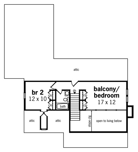 Second Floor Plan image of Featured House Plan: BHG - 8328
