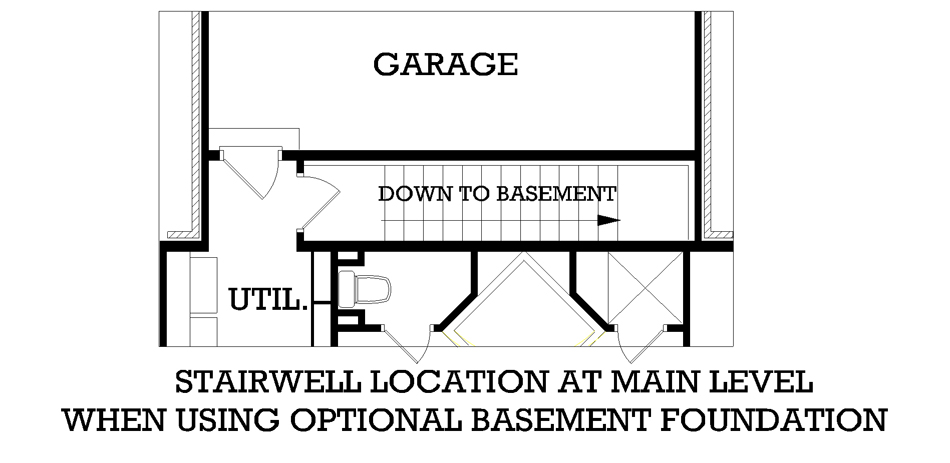 Main Level Stair Location with optional basement image of Featured House Plan: BHG - 3575