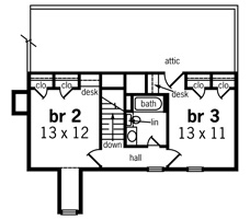 Second Floor Plan image of Featured House Plan: BHG - 8622