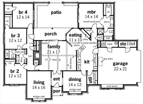First Floor Plan image of Featured House Plan: BHG - 8642