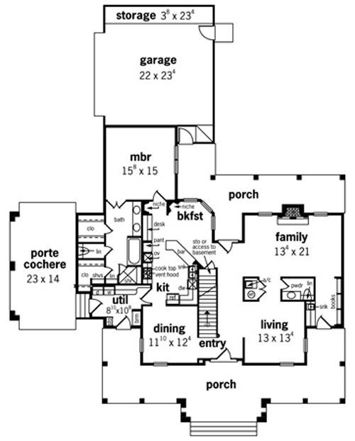 First Floor Plan image of Featured House Plan: BHG - 8943