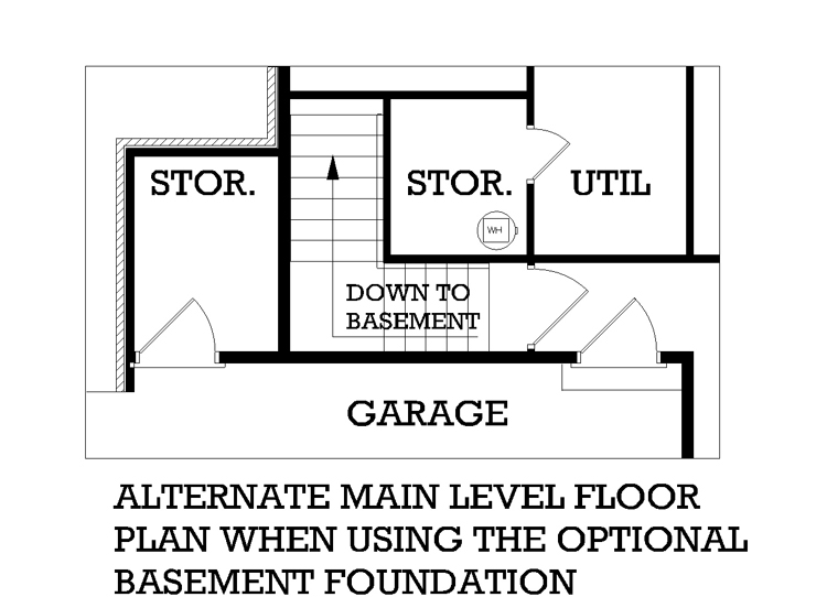 Main Level Stair Location with optional basement image of Featured House Plan: BHG - 3571