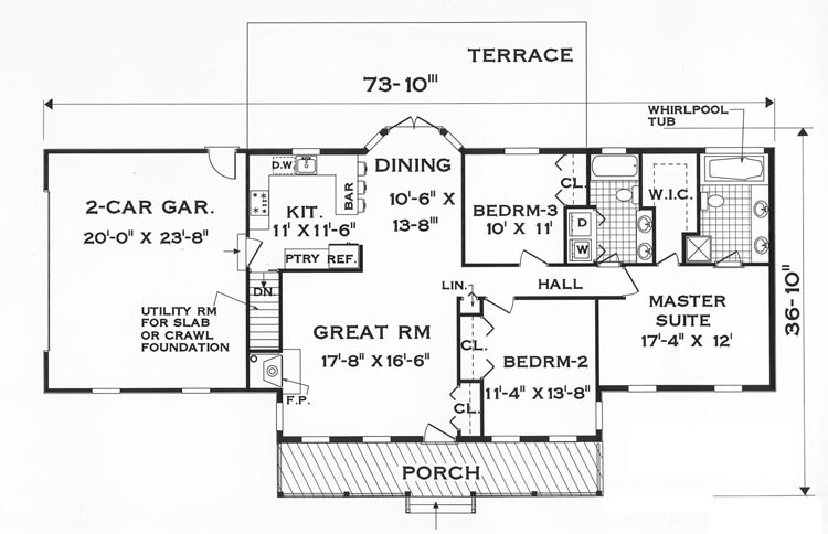 Floor plan image of Featured House Plan: BHG - 7645