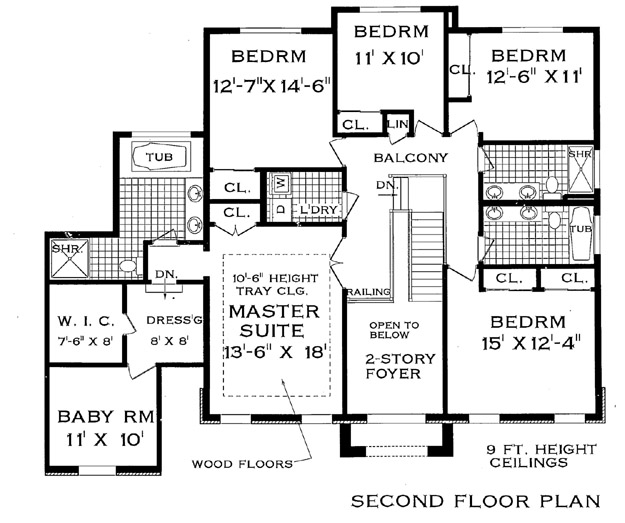 Second Floor Plan image of Featured House Plan: BHG - 4711