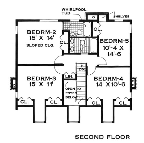 second floor image of Featured House Plan: BHG - 5624