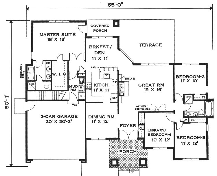 Floor plan image of Featured House Plan: BHG - 6994