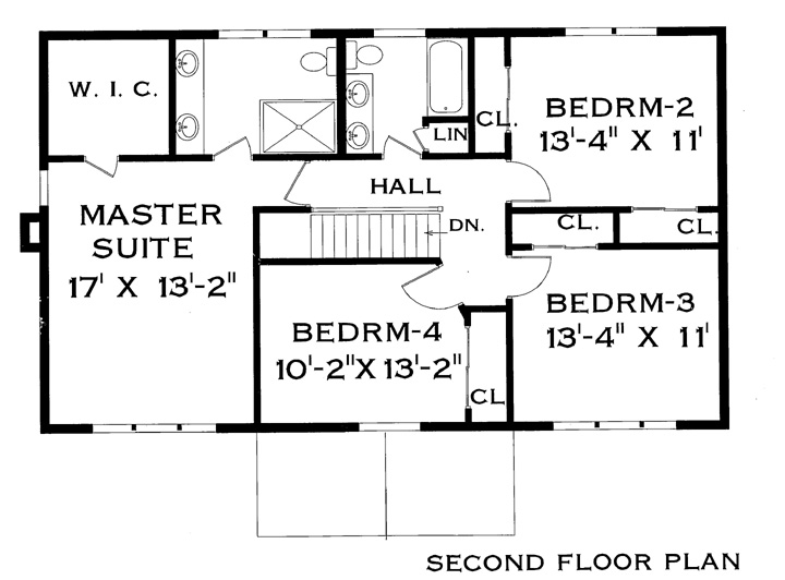 Second Floor Plan image of Featured House Plan: BHG - 4388