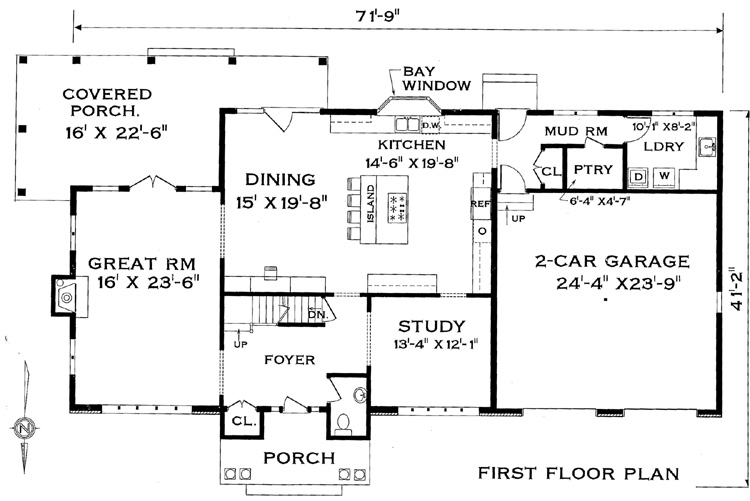 First Floor Plan image of Featured House Plan: BHG - 4388