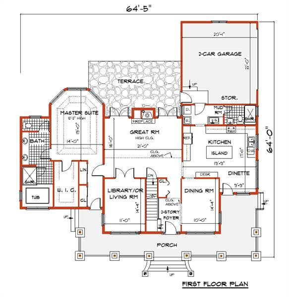 First Floor Plan image of Featured House Plan: BHG - 7421
