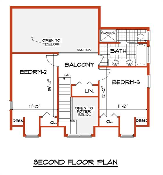 Second Floor Plan image of Featured House Plan: BHG - 7421