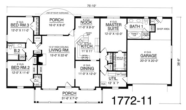 Floor Plan image of Featured House Plan: BHG - 8184