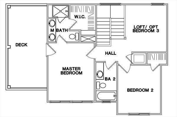Second Floor Plan image of Featured House Plan: BHG - 3082