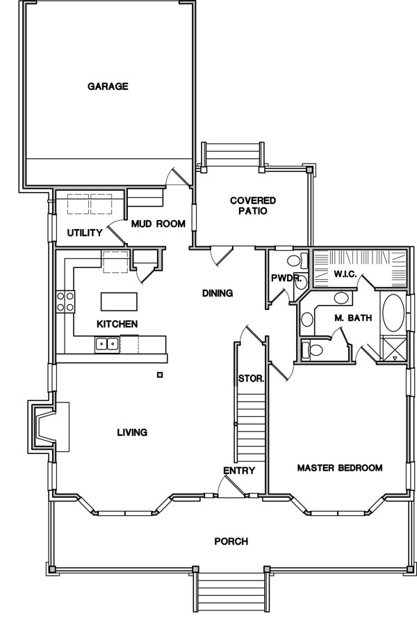 First Floor Plan image of Featured House Plan: BHG - 3083