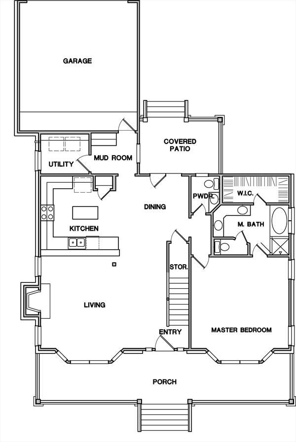 First Floor Plan image of Featured House Plan: BHG - 3089