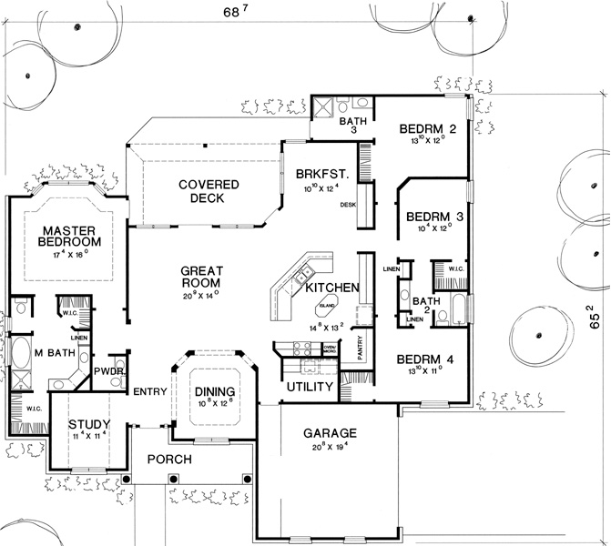 First Floor Plan image of Featured House Plan: BHG - 2932