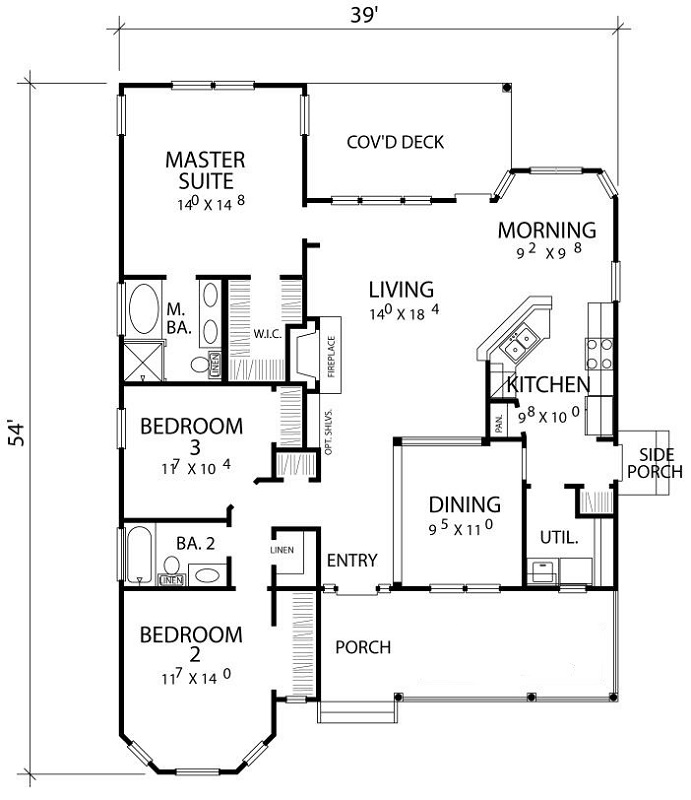 First Floor Plan image of Featured House Plan: BHG - 2875