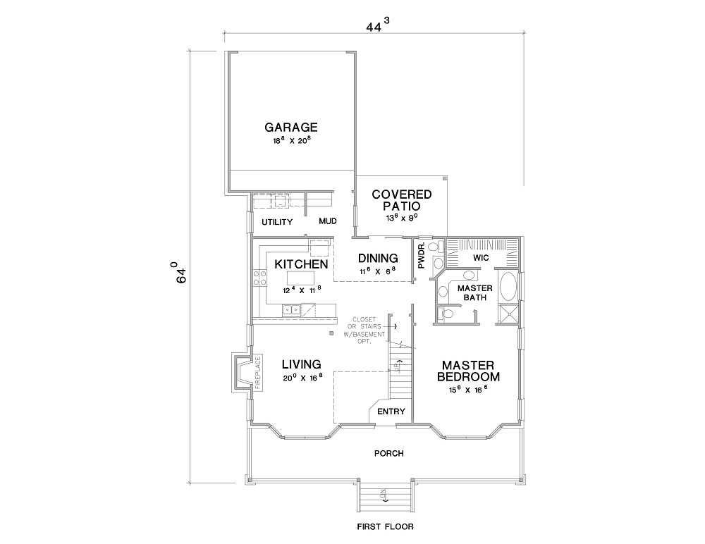 1st Floor Plan image of Featured House Plan: BHG - 3083