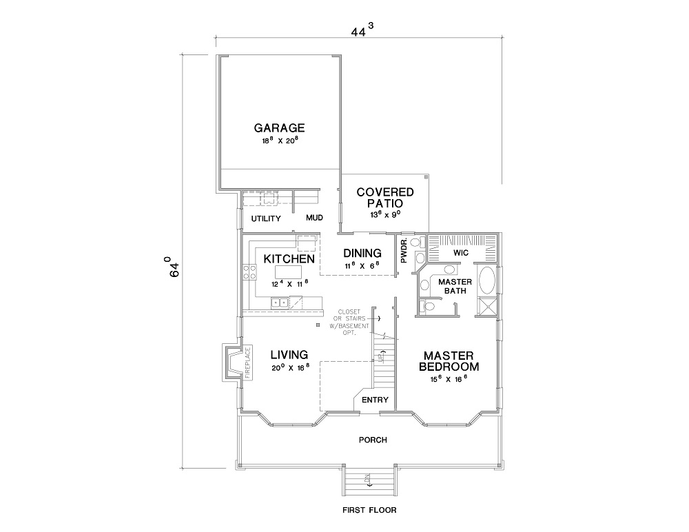 1st Floor Plan image of Featured House Plan: BHG - 3089