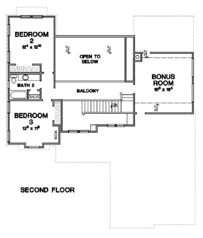 Second Floor Plan image of Featured House Plan: BHG - 3743