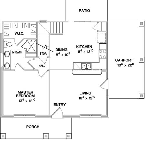 First Floor Plan image of Featured House Plan: BHG - 3075