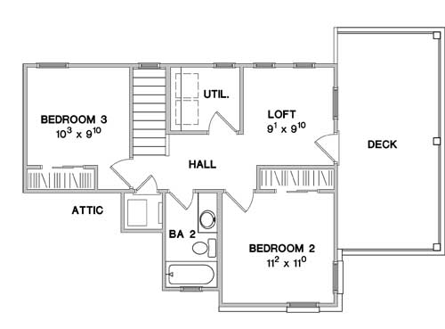 Second Floor Plan image of Featured House Plan: BHG - 3075