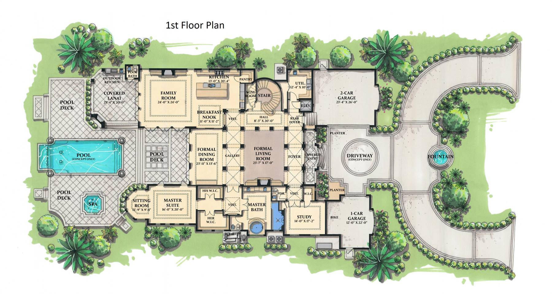 1st Floor Plan image of Featured House Plan: BHG - 7275