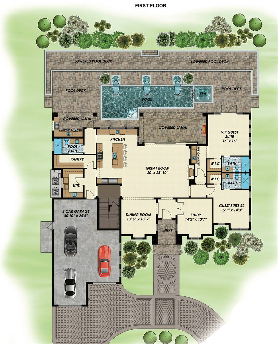 1st Floor Plan image of Featured House Plan: BHG - 7531