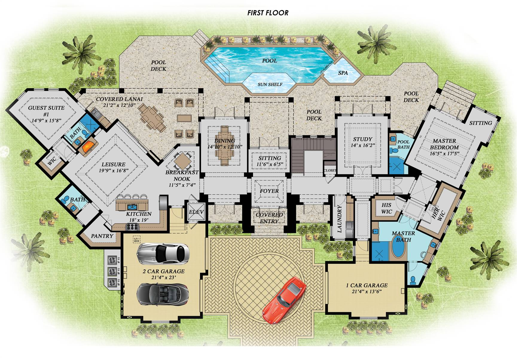 1st Floor Plan image of Featured House Plan: BHG - 7534