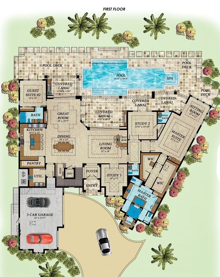 1st Floor Plan image of Featured House Plan: BHG - 1769
