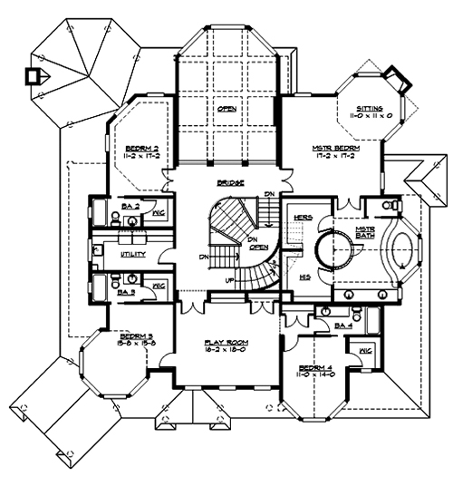 Upper Floor image of Featured House Plan: BHG - 3363