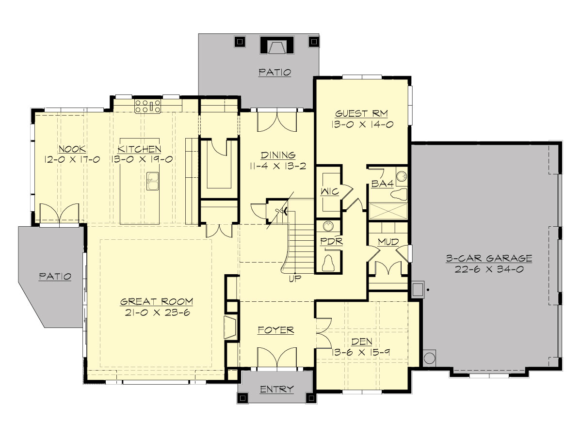 Main Floor image of Featured House Plan: BHG - 1629
