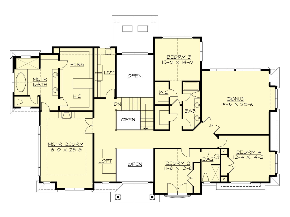 Upper Floor image of Featured House Plan: BHG - 1629