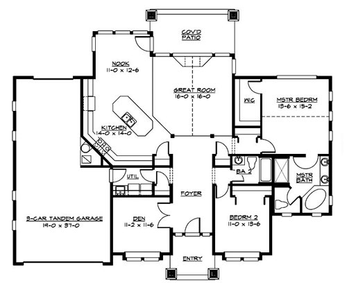 Main Floor image of Featured House Plan: BHG - 3242
