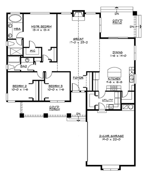 Main Floor image of Featured House Plan: BHG - 3243
