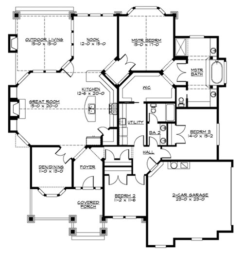 Main Floor image of Featured House Plan: BHG - 3245
