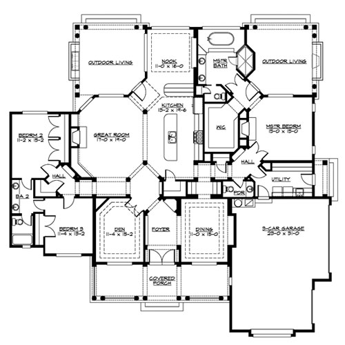 Main Floor image of Featured House Plan: BHG - 3248